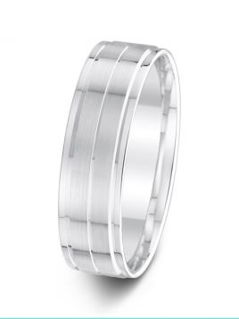 6mm two stepped brushed finish with polished edges patterned wedding ring