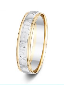 5mm two tone flat parallel grooves with engraving wedding ring