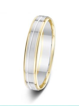 4mm two-tone double outer groove with central wavy groove wedding ring