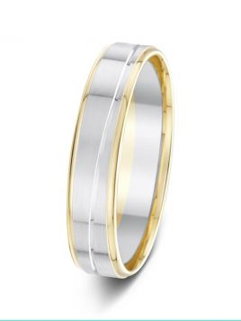 5mm polished and matt finish wavy groove two tone wedding ring