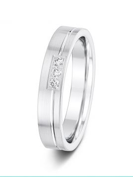 4mm 0.09ct offset groove and diamond wedding ring