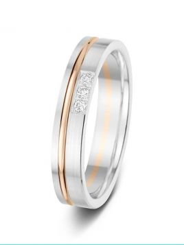 4mm 0.05ct two-tone offset groove diamond set wedding ring