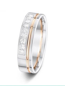 5mm 0.27ct polished two-tone grooved 1/2 set diamond wedding ring