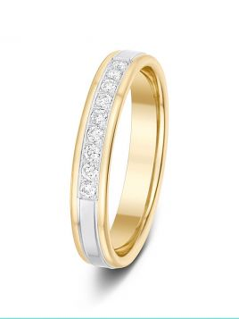 3.5mm 0.15ct matt and polish two-tone 1/3 set diamond wedding ring