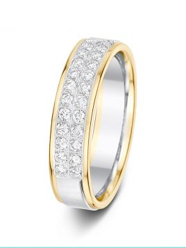 5mm 0.41ct two-tone double row diamond wedding ring