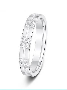 3.5mm 0.27ct bar setting mirror finish diamond wedding ring