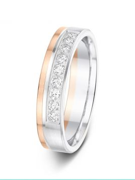 4.5mm 0.27ct matt & polished split two-tone 1/2 set diamond wedding ring