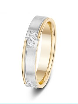 4mm 0.20ct two-tone patterned grooves diamond wedding ring