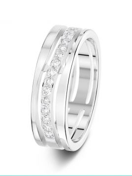 6mm 0.27ct wavy pierced diamond wedding ring