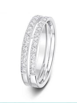 4.5mm 0.48ct polished double row pierced centre diamond wedding ring
