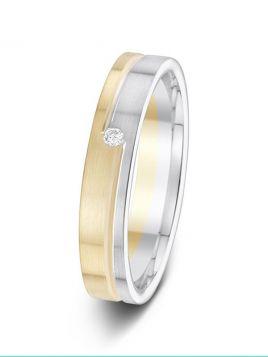 4mm 0.03ct two-tone split design diamond wedding ring