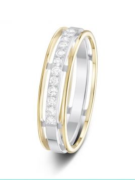 5mm 0.20ct two-tone split design diamond set wedding ring