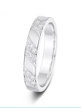 3.5mm diamond patterned polished wedding ring