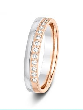 4mm 0.26ct polished split two-tone 1/2 set diamond wedding ring