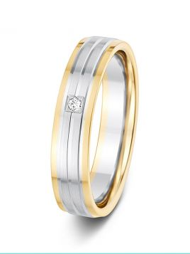 4.5mm 0.02ct two-tone groove design diamond wedding ring