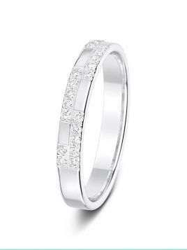3mm 0.23ct check pattern diamond wedding ring