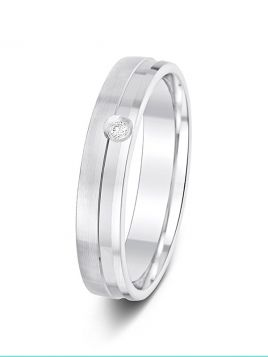 4mm 0.02ct matt & polish grooved single diamond wedding ring
