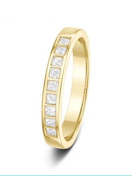 3mm 0.21ct polished bar channel set princess cut diamond eternity ring