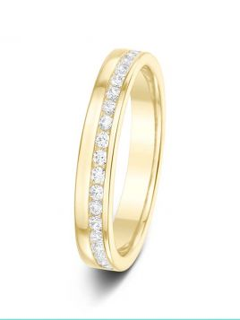 3.6mm 0.25ct channel set half eternity diamond wedding ring
