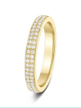 3mm 0.25ct 2 rows 2 claw set round cut diamond polished half eternity ring