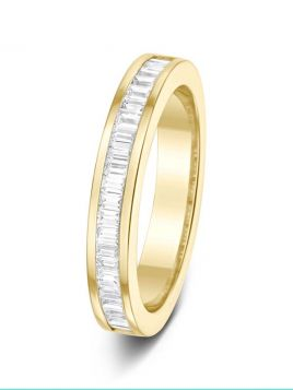 3.3mm 0.50ct channel set baguettes half eternity diamond wedding ring