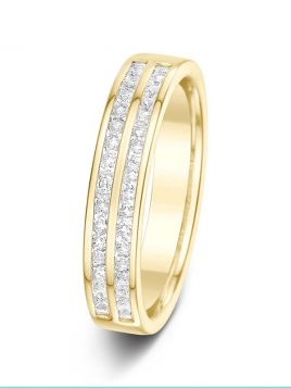 4.3mm 0.50ct two rows bar set half eternity diamond wedding ring