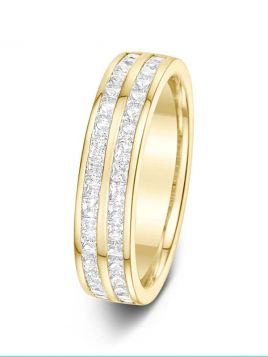 4.3mm 0.75ct double channel set row princess cut diamond eternity ring