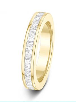 3.8mm 1.00ct channel set baguette & princess cut diamond eternity ring
