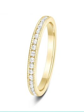 2.1mm 0.25ct polished milgrain edge round brilliant diamond eternity ring