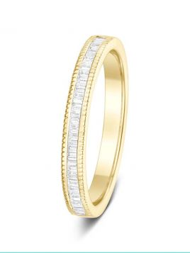 2.7mm 0.25ct polished milgrain edge baguette cut diamond eternity ring