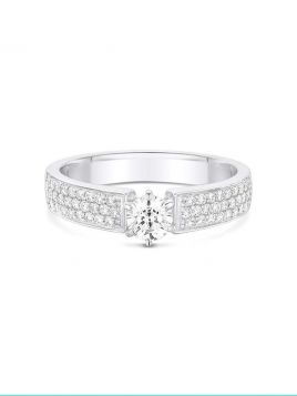 Diamond Solitaire engagement ring with micro pave set shoulder diamonds (with G/VS2 diamond)