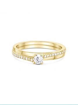 Contemporary Solitaire engagement ring with claw set shoulder diamonds (with G/VS2 diamond)