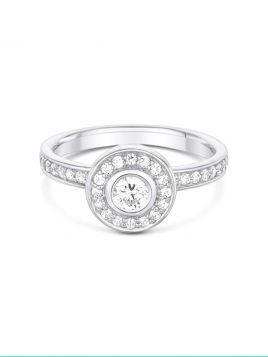 Vintage style diamond Halo Engagement Ring (with G/VS2 diamond)