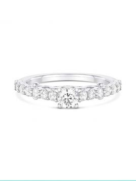 Vintage inspired engagement ring with intricate filigree side detail (with G/VS2 diamond)