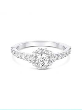 Halo Engagement ring with claw set diamond band. (with G/VS2 diamond)