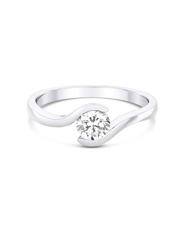 Tension set diamond engagement ring in a platinum setting