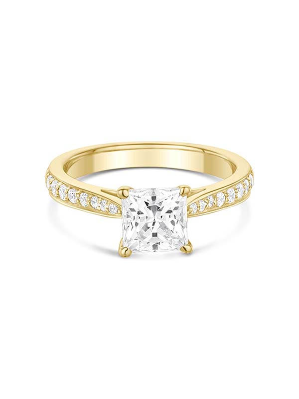 Princess cut square diamond engagement ring with shoulder diamonds