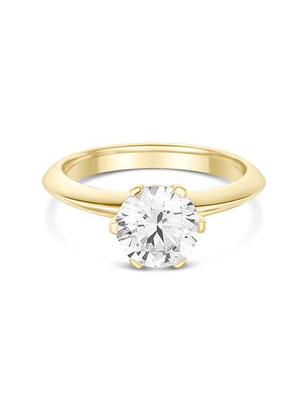 Classic Solitaire engagement ring with Tiffany style 6 claw setting