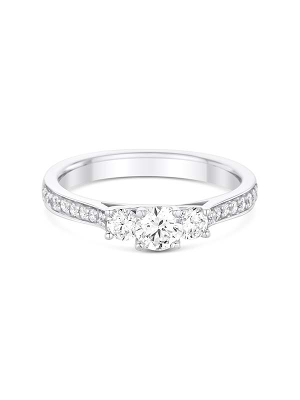 Vintage style 3 stone engagement ring with side diamonds