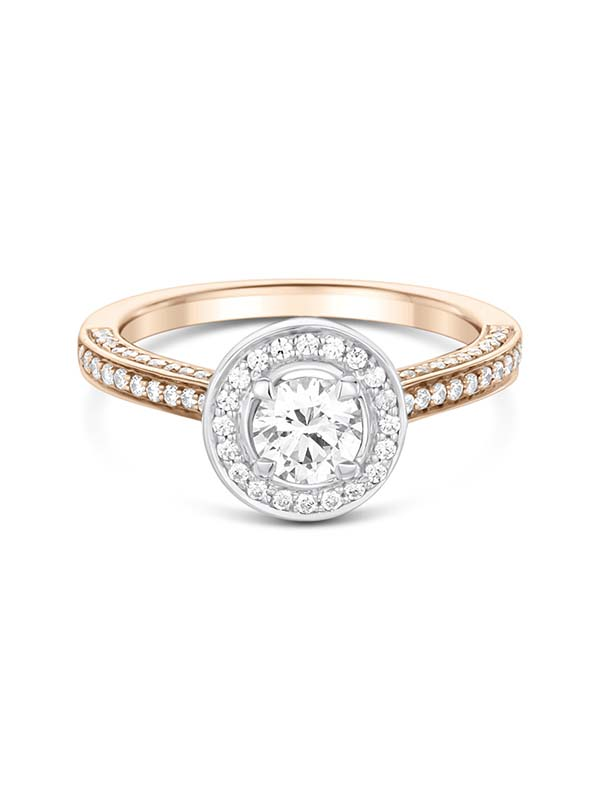 Rose gold halo diamond engagement ring with shoulder diamonds