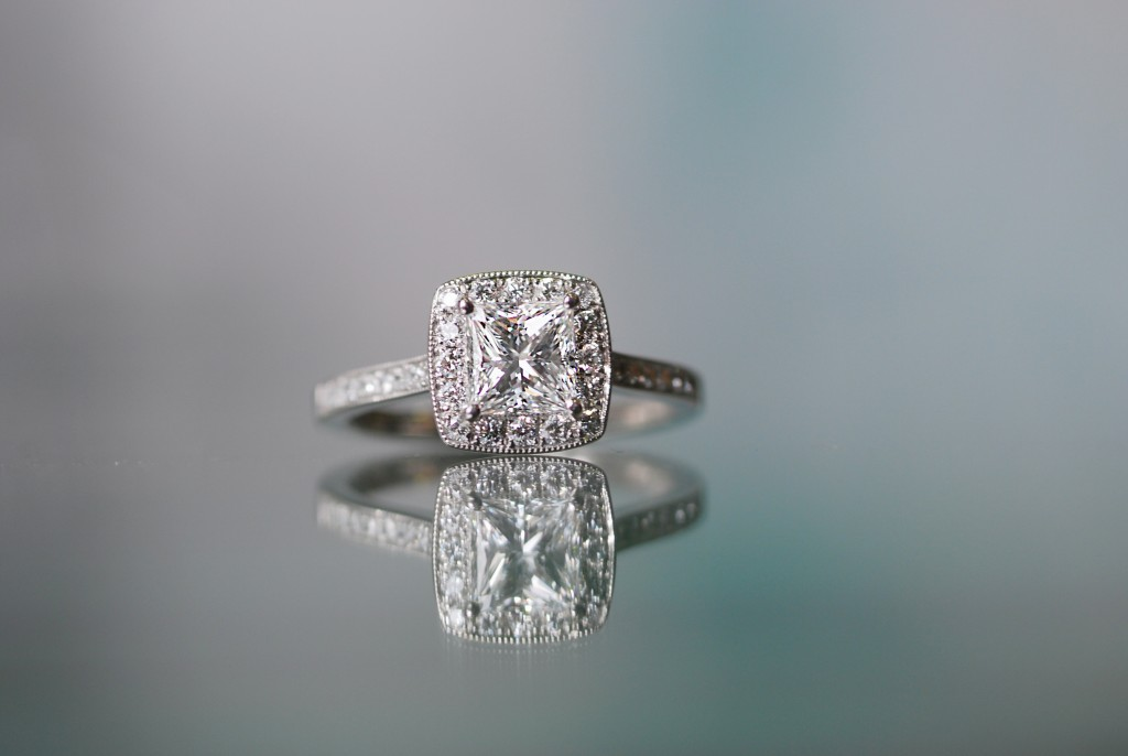 Halo diamond engagement ring with D IF diamond