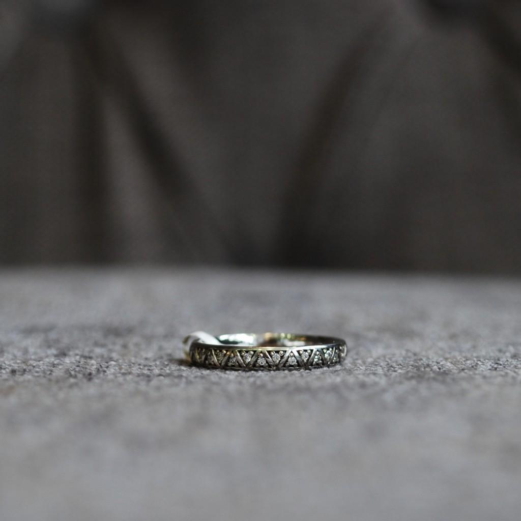 Art deco unique wedding ring