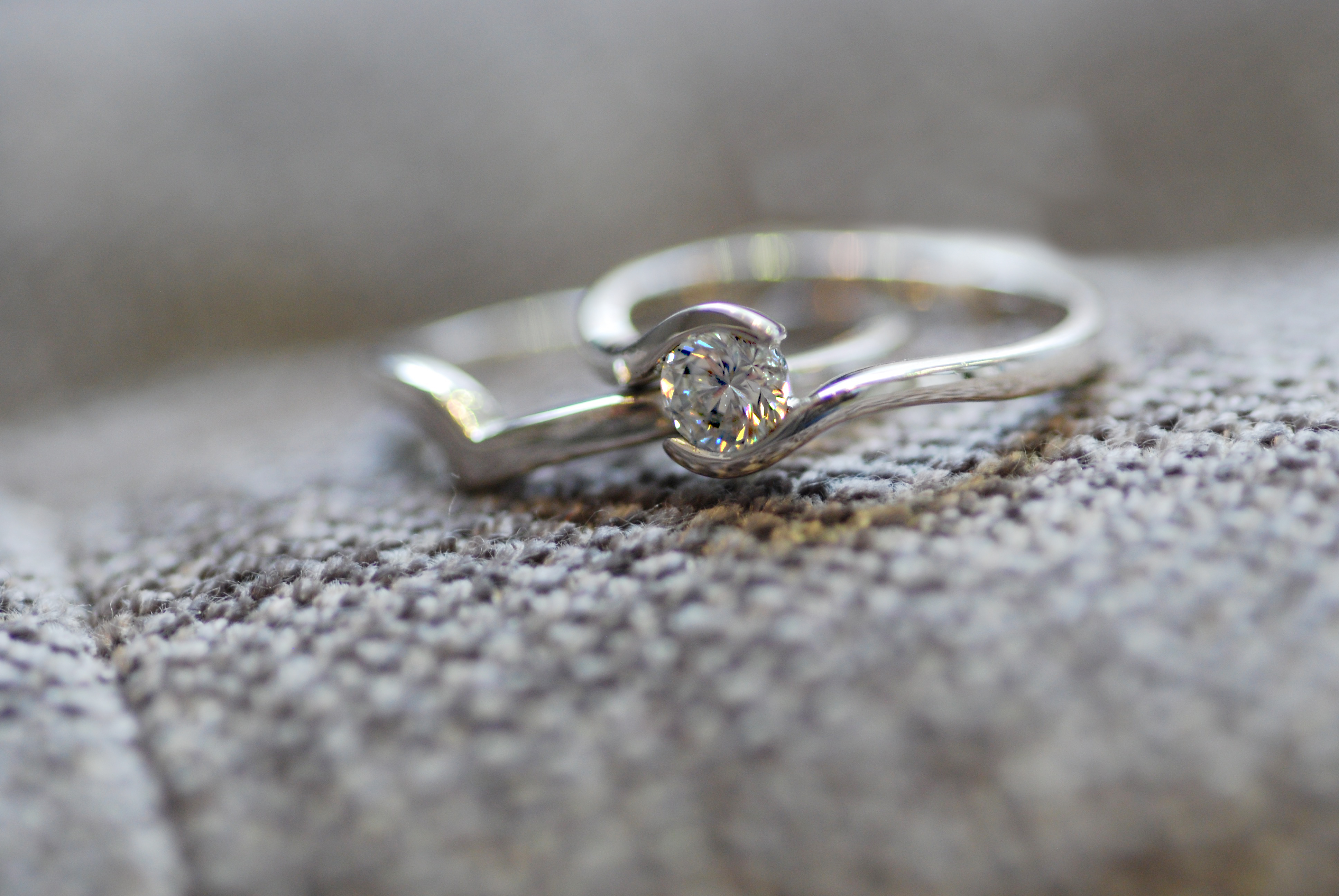 Tension Engagement Ring With Wave